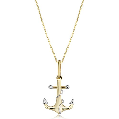 Kooljewelry 14k Two-tone Gold Anchor Necklace (fits 16 or 18 inch) (Gold Necklace Anchor)