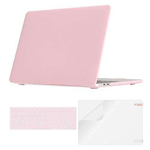 iCasso MacBook Pro 13 Case 2018 2017 2016 Release A1989/A1706/A1708,Plastic Cover Keyboard Skin&Screen Protector New Mac Pro 13 Retina Model A1989/A1706/A1708 With/Without Touch Bar Touch ID-Baby Pink