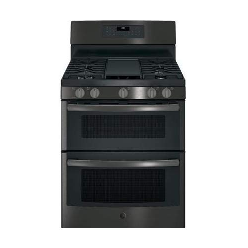 GE JGB860BEJTS 30 Inch Freestanding Gas Range with 5 Sealed Burner Cooktop in Black Stainless Steel