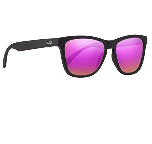 Classic Black Flex Frame Polarized Sunglasses With Pink UV Protection Lenses - Made From Swiss TR90 Thermoplastic - For Men & Women - The Cake By - Sunglasses Made Who