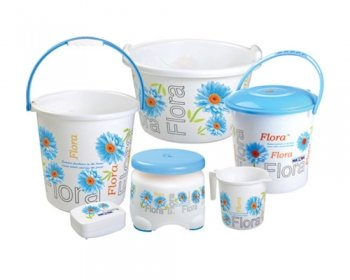 Amazon.com: Nayasa Printed Small Bathroom Plastic Bucket And Mug Set,  6 Pieces, Blue: Home U0026 Kitchen