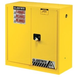 Justrite Yellow Safety Cabinets for Flammables, Manual-Closing Cabinet, 45 Gallon -