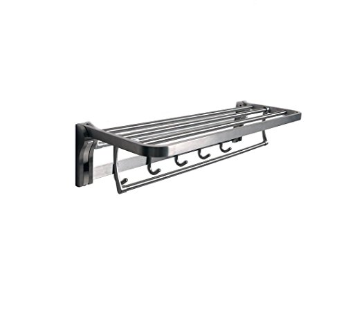TOGU SUS 304 Stainless Steel 4 Racks Foldable Bathroom Shelf with Towel Bar, Heavy Duty Towel Shelves with 5 Hooks for Bathroom Lavatory,Brushed Stainless Steel Finish by Togu