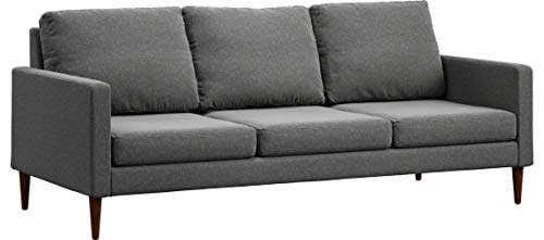 Campaign 86-Inch Steel Frame Brushed Weave Sofa, Flint Grey with Mahogany Stained Solid Oak Legs
