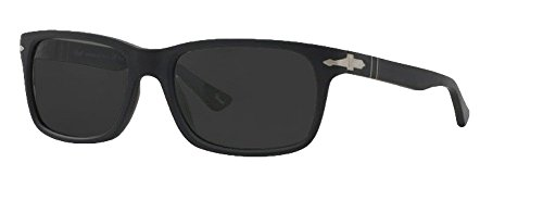 Persol Sunglasses PO3048 (58 mm Matte Black Frame, Polarized Solid Black Lens)