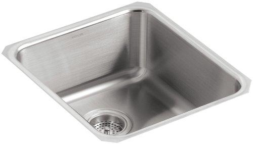 KOHLER K-3331-NA Undertone Medium Squared Undercounter Kitchen Sink, Stainless Steel ()
