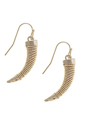THE JEWEL RACK CHAIN WRAPPED TUSK EARRINGS (Gold)