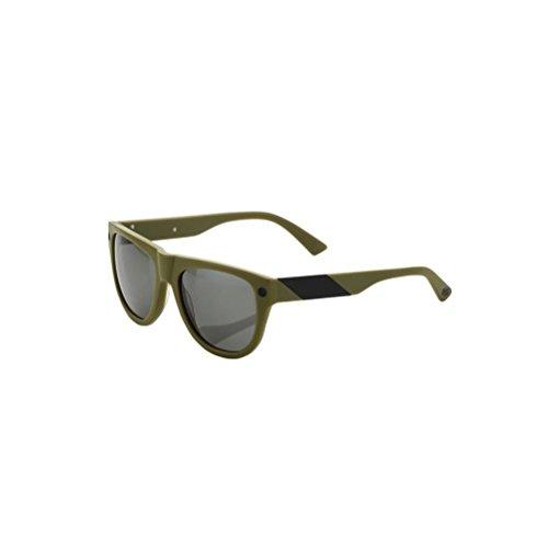 100% Adult Higgins Sunglasses Matte Olive/Brushed Black - Grey Lens One - Superbike Sunglasses