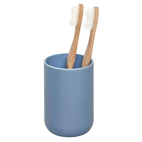 iDesign Cade Toothbrush Holder, Holds Normal Toothbrushes, Spin Brushes, and Toothpaste - - Silver Navy Blue Wall Bathroom Mirrors