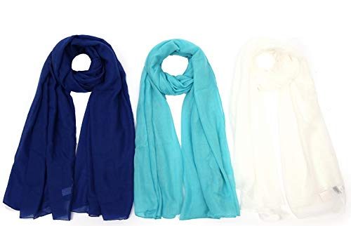 (Light weight Plain Solid Rectangular Scarf For Women Oblong 72x39.5 Inches 3PCS for Set Blue Turquoise White)