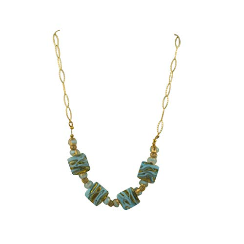 Just Give Me Jewels Genuine Venice Missoni Miro Murano Beads Necklace in Turquoise and Infused Gold Foil, 18+3