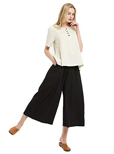 Sellse Women's Linen Cotton Casual Large Size Pants Plus Size Pant With Band Waist (5XL, Black) (Pants Women For Color Linen)