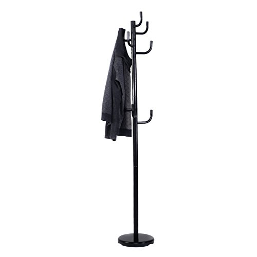 Coat & Hat Racks New Metal Coat Rack Hat Stand Tree Hanger Hall Umbrella Holder Hooks Black
