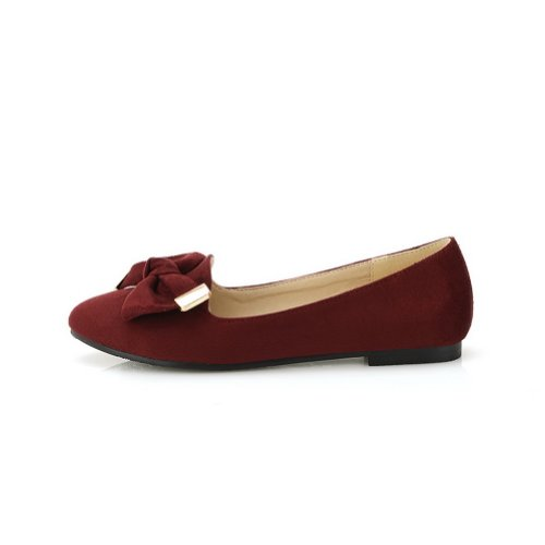 Frosting 6 Red B US Suede 5 Flats Women's M Solid Closed WeenFashion Toe with Pointed PU Bowknot qwXPF7fSP