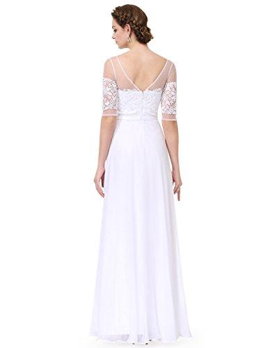 Halbtransparent Chiffon 1 Ever Abendkleid 2 V Pretty Lace Ausschnitt 08459 Weiß1 Aermel Lang wqHxEHB