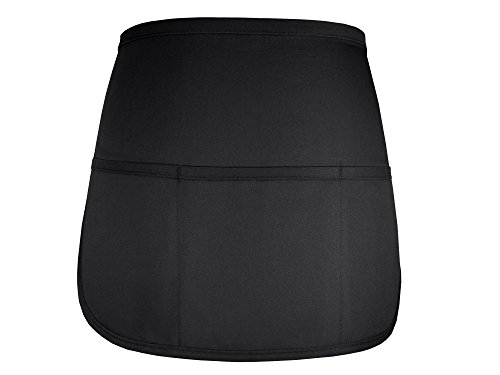 Fame Adult's Cafe Rounded Apron with Pockets-Black-O/S ()