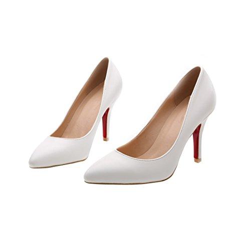 HooH Women's Simple Pointed Toe Dress Pumps Y2623 White 1wXj0