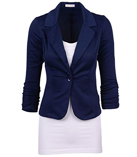 (Auliné Collection Women's Casual Work Solid Color Knit Blazer Navy Blue Medium)