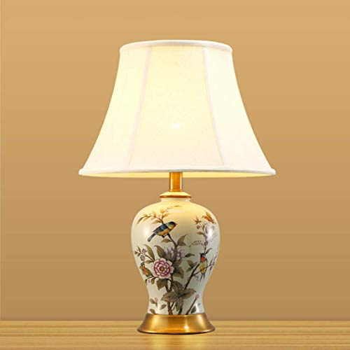 Carl Artbay Home Table Lamp American Flower and Bird Ceramic Table Lamp, Bedroom Bedside Lamp, Chinese Study Room Lamp, Living Room Porcelain Bottle Lamp High-end Decorative Lights