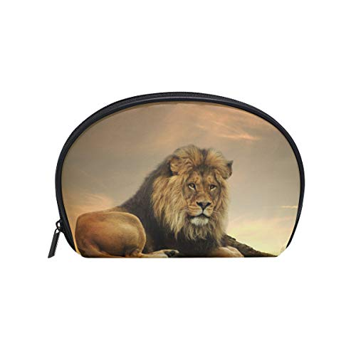 Makeup Bag African Animal Lion King Stone Sitting Sunset Cosmetic Pouch Clutch -