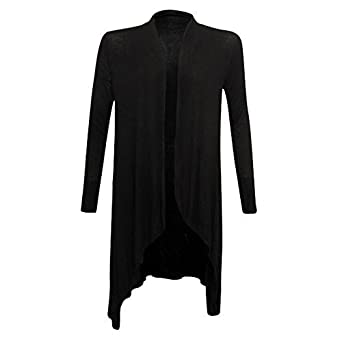 New Womens Long Sleeve Italian Waterfall Open Long Cardigan Top ...