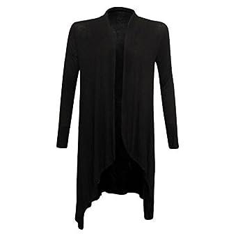 New Womens Long Sleeve Italian Waterfall Open Long Cardigan Top One Size  8-14