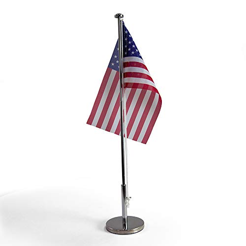 (Vispronet Miniature USA Desk Flag and Stand - Height Adjustable 12.6in - 19.7in Telescopic Flagpole with Weighted Base - Flag Size 9.8in x 5.9in)