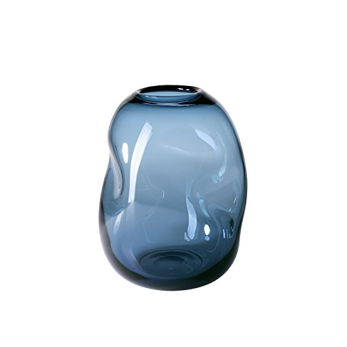 CASAMOTION Vases Hand Blown Art Glass Vase, Organic Contemporary Style Centerpiece Vases for Table, Grey blue