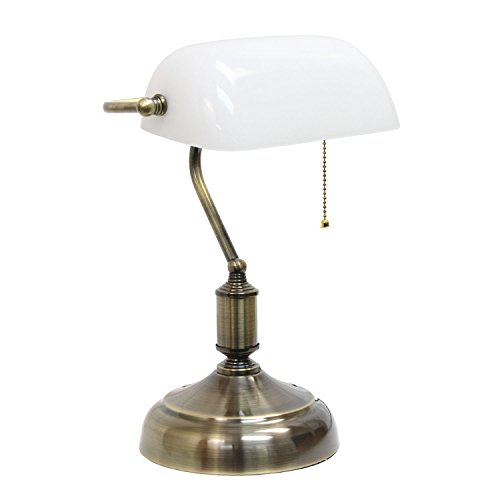 Library Executive Desk - Simple Designs Executive Banker's Desk Lamp with Glass Shade, White