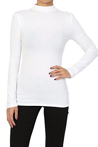 White Neck Ladies Mock (TheMogan Women's Basic Mock Neck Long Sleeve Stretch Cotton Tee White S)