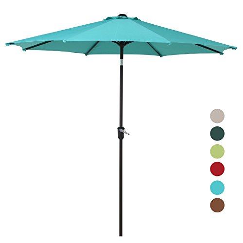Grand Patio 9FT, 8 Ribs Aluminum Patio Umbrella with Auto Crank and Push Button Tilt, UV Protective Beach Umbrella, Powder Coated Outdoor Umbrella, (Patio Umbrella Lighting System)