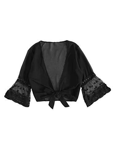 SweatyRocks Women's Sexy Chiffon Deep V Neck Tie Knot Front Blouse Crop Top Black Small