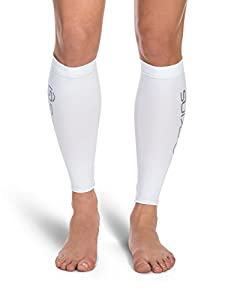 SKINS Unisex Essentials Compression MX Calf Tights, White/Pink, X-Large