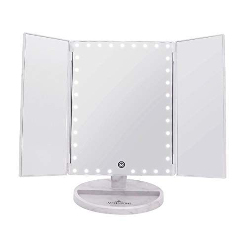 Impression Vanity Makeup Vanity Touch Trifold XL Dimmable LED Makeup Mirror (Touch Trifold Xl Dimmable Led Makeup Mirror)