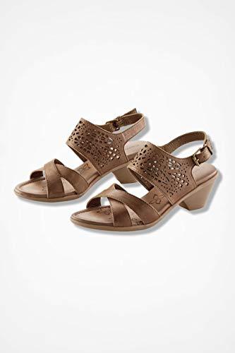 Comfortiva Womens Faith Leather Open Toe Casual Slingback, Sand, Size 7.0