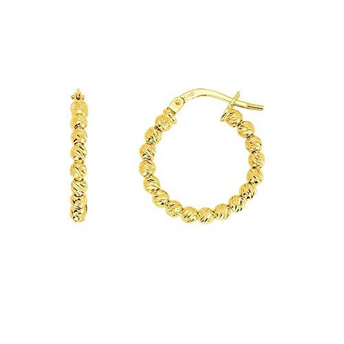 YZEL - Boucles d'oreilles - créoles or jaune 9 carats - Diamètre intérieur 15 mm - www.diamants-perles.com