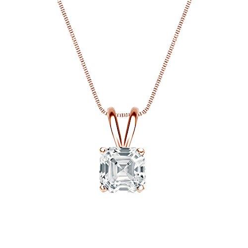IGI Certified 14k Rose Gold 4-Prong Basket Asscher-cut Diamond Solitaire Pendant (1 cttw, G-H, SI1-SI2)