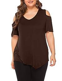 Amoretu Womens Plus Size Tops Short Sleeve Tee Shirts for Summer XL-5XL