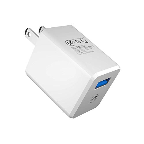 (Quick Charge 3.0 Wall Charger, Auckly 18W Type-C Qualcomm Certified QC Mini Ultra-Compact Fast Travel USB Charger Compatible with iPhone Xs/XS Max/XR/X/8,Samsung Galaxy,Google Pixel 3/3 XL/2)