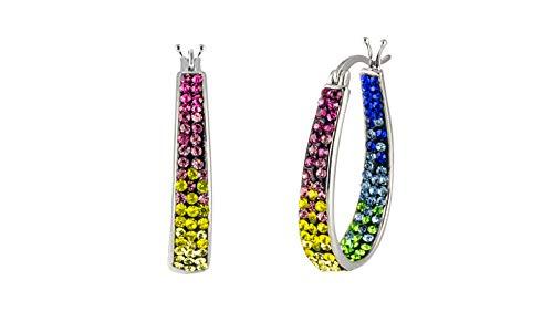 Inside Out Hoop Oval Crystal Hoop Earings, Fashion Hoop Earrings for Women- Austrian Crystal Hoop Earrings, Oval Earrings For Women (Multi Rose)
