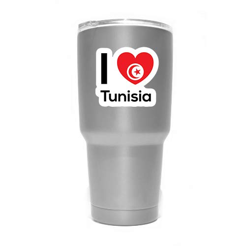 MKS0305 Love Tunisia Flag Decal Sticker Home Pride Travel Car Truck Van Bumper Window Laptop Cup Wall Two 3 Inch Decals