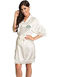 1605769c8f Women s Embroidered Personalized Monogram Satin Lace Robe for Bride  Bridesmaid and Wedding Party