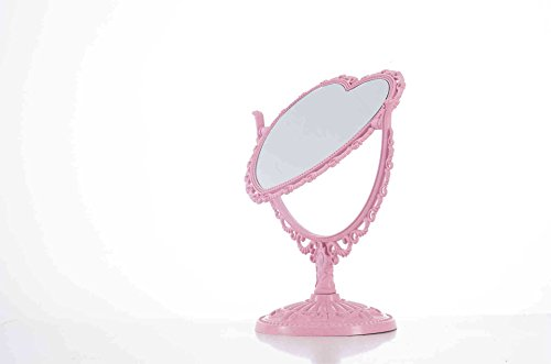 Heart Vanity - XPXKJ 7-Inch Tabletop Vanity Makeup Mirror with 3X Magnification, Two Sided ABS Decorative Framed European for Bathroom Bedroom Dressing Mirror (Pink Heart-Shaped)