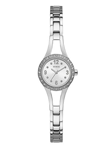 GUESS Women's Stainless Steel Petite Crystal Watch, Color: Silver-Tone (Model: U1034L1)