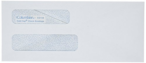 Columbian Business Envelopes, Gummed, 3 5/8 x 8 5/8 Inch, Double-Window, White, 500 Per Box (CO158) ()