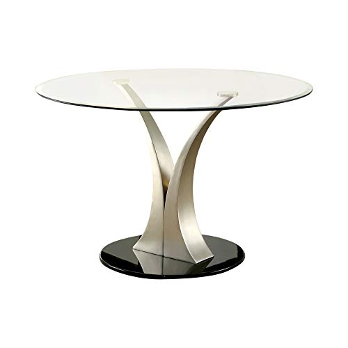 247SHOPATHOME IDF-3727T Dyana Oval Dining Table, Silver