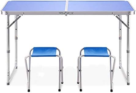 Folding Table 3 Foot, Adjustable Height Lightweight Portable Camping Table for Outdoor Indoor,47 x23 x21.7 23.7 27.6 Blue