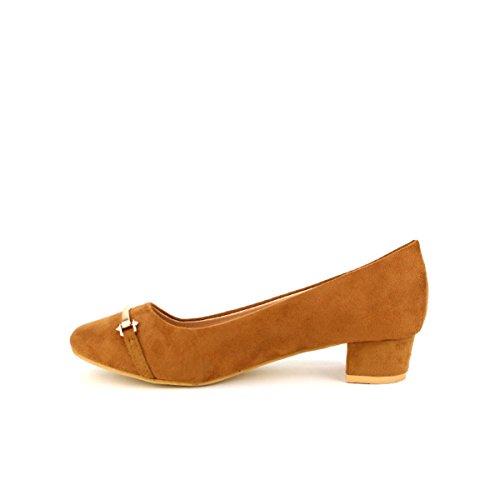 Cuir Ballerine Femme Chaussures LYO Peau Marron Cendriyon OSxw4REqO