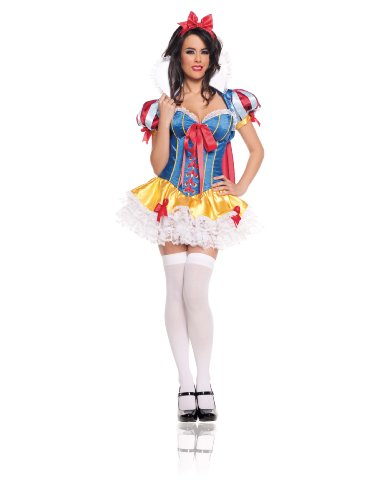Snow White Deluxe Adult Womens Costumes (Starline Women's Snow White Deluxe 5 Piece Corset Costume Set, Blue/Red, Large)