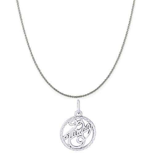 Rembrandt Charms 14K White Gold Tampa Charm on a 14K White Gold Rope Chain Necklace, 18